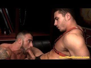 Gaysex Pornstars Licking Up His Cum