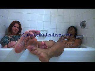 Foot Fetish In The Bathtub Caramel Kitten Interracial Feet