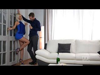Horny Blonde Seductress In Blue Stilettos