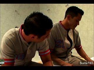 Tattoed Gay Jocks 69ing In Locker Room