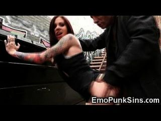Hobo Cums On Emo Teen In Public!