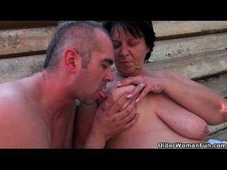 Chubby Grandma With Rock Hard Nipples Gets Fucked Outdoors
