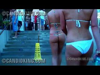 Candid Beautiful Blonde Walking In A Thong Bikini