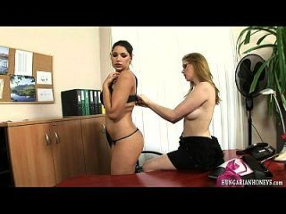 Hungarian Lesbian Secretary Eating Pussy On A Desk
