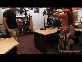 Busty Latina Sucks Pawnshop Owners Cock For Extra Cash