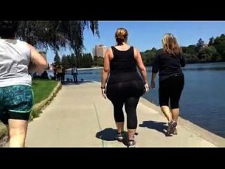 Huge White Bbw Candid Spandex Ass Walk