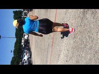 Mature Latina With Mega Booty In Shiny Spandex Shorts
