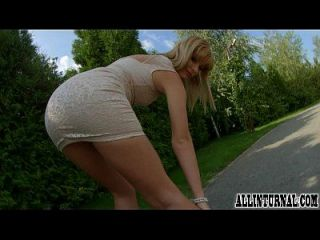 Pretty Blonde Is Bent Over And Filled With Spunk