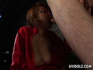 Asian Bitch In A Red Track Suit Sucking A Dude