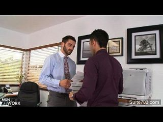 Sexy Gay Gets Ass Banged In The Office