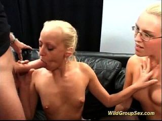 Two German Girls Suck Many Cocks