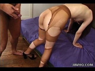 Asian Chick With Ripped Up Stockings Gets Ripped