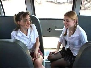 Two Cute Schoolgirls Gets Fucked On The Bus