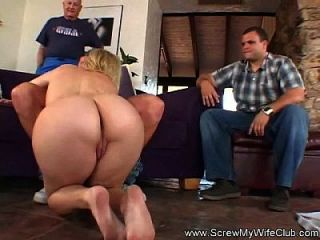 Skinny Blonde Milf Swinger Loves New Dick