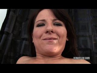 Tiny Slut Casey Cumz Gets Her Face Splattered With Jizz