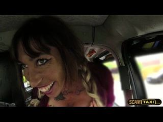 Fucking Hot Brunette Babe Gets Facial In The Backseat Of The Taxi
