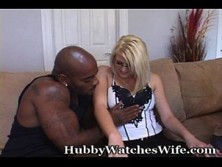 Hubby Watches Wife With Black Stud