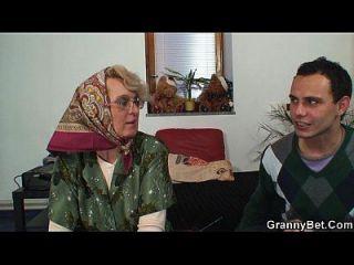 Old Women Gets Her Bald Pussy Slammed