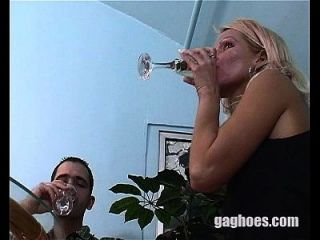 Blonde Model Throat Fucked While In A Dinner Date