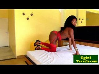 Ebony Ts Carol Dias In Red Lingerie Solo