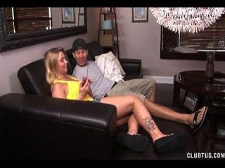 Super Hot Blonde Strokes A Young Guy