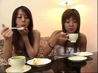 2 Japanese Lesbians Eating Cake And Kissing