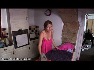 Down Blouse British Babe Laura The Maid Boobs While Ironing