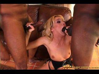 Blonde Slut Interracial Threesome Rough Sex Anal Double Penetration
