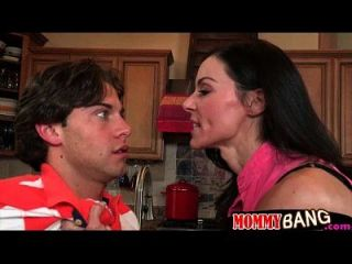 Mature Stepmom Kendra Lust Threesome Sex In The Kitchen
