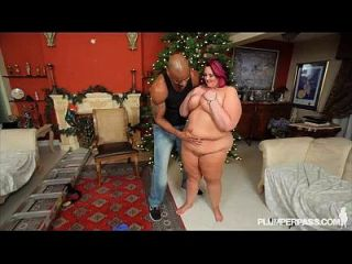 Big Belly Bbw Sara Star Takes Some Bbc At Xmas Time