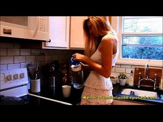 Kendra Sunderland Brand New Oiling Herself Up In The Kitchen