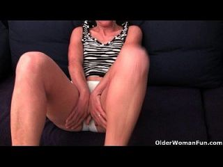 Granny Emanuelle In Soaked Panties Is Fingering Hairy And Swollen Cunt