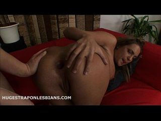 Tanned Blonde Has Her Ass Gaped By A Huge Strapon Dildo