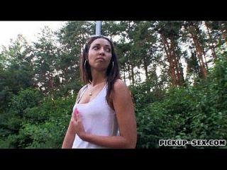 Slim Amateur Girl Casey Jordan Fucked In The Woods For Money