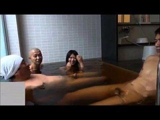 Cute Japanese Girl Vs Three Oyazi At Bathroom