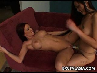 Asian And Regular Lesbo Bitches Fucking With A Strap On