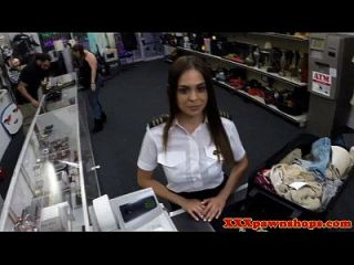 Latina Pilot Does What She Needs To For Cash