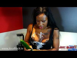 German Ebony Nasty Fucking With Cucumber