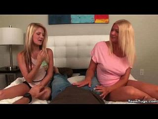 Teen-mom And Daughter Tag-team Handjob