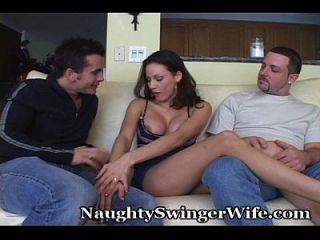 Stunning Swinger Fucks Another With Hubby Near