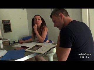 Pretty Amateur French Brunette Student In Uniform Sucks Her Teacher
