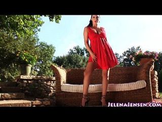Lady In Red Jelena Jensen Masturbates Outside!