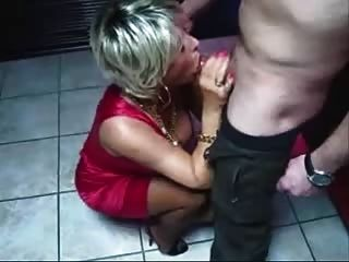 Hot Blonde Mature Sucks Cock At Christmas Party