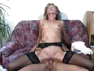 Hot German Mature Fucked On The Couch
