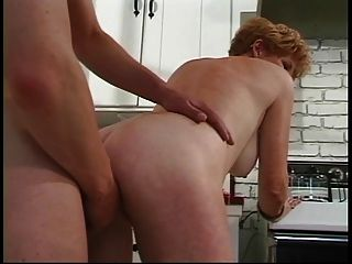 Young Guy Fucks Short-haired Redhead 70 Year Old With Fire Crotch