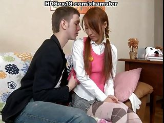 Hot Asian Redhead Gets Anal Fuck And Creampie