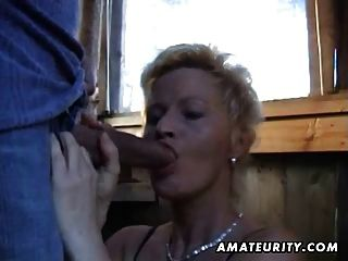 Mature Amateur Wife Sucks And Fucks Outdoor With Facial Cum