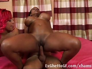 Two Chubby Black Babes Fuck A White Guy
