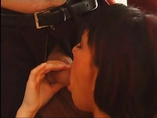 Sexy Short Haired Brunette With A Hairy Pussy Gets Fucked
