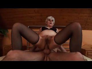 Agile Grey Haired Granny In Stockings Fucks